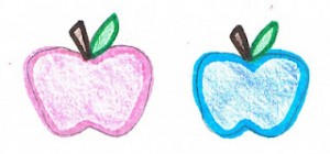 Pink and Blue Apples